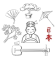 Japanese travel and cultural sketch icons vector image