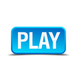 Play blue 3d realistic square isolated button vector image
