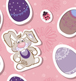 Seamless Easter Egg and Bunny Pattern vector image
