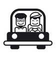 Young man with a friend driving a car vector image