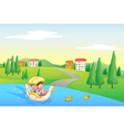 a river and kids vector image vector image
