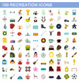 100 recreation icons set flat style vector image