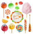 candy set swirl caramel cotton candy sweet vector image vector image