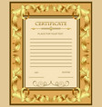 a custom certificate template with gold ornaments vector image