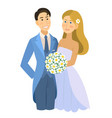 newlyweds wedding bride and groom engaged vector image