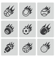 black fire sport balls icons set vector image