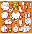 doodle set of food vector image vector image