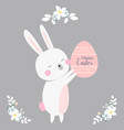 cartoon style easter bunny greeting card vector image