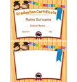 graduation certification template with happy vector image