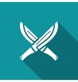 Machete with wooden handle icon vector image