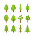 set of trees icons flat vector image