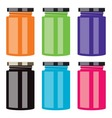 colorful jam jars vector image