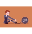 Businessman chained with a metall weight Loan vector image
