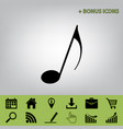 music note sign  black icon at gray vector image
