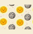 cute sun and moon character seamless pattern vector image