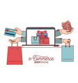 laptop with wallpaper of set gift and bag shopping vector image