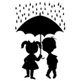 Pair of children staying under an umbrella vector image vector image