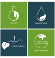 Emblems for green pharmacy and herbal medicine vector image