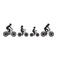 Silhouette of family on bicycles vector image