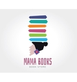 Abstract mama books logo template for vector image