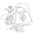Boy scout with a camping tent vector image