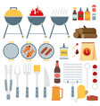 flat set of barbecue tools vector image