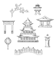 Japan travel icons in sketch style vector image
