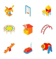 Children entertainment icons set cartoon style vector image