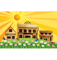 A garden at the hills near the wooden houses vector image