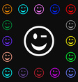 Winking Face icon sign Lots of colorful symbols vector image