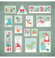christmas postage stamps vector image