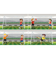 Four scenes of goalkeepers in the field vector image vector image