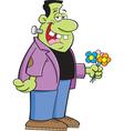 Cartoon Frankenstein with Flower vector image