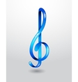 Glass blue treble clef vector image