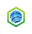 globe abstract stripe logo vector image