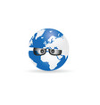 globe with sunglasses cartoon vector image