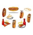 Hotdog cartoon characters and symbols vector image