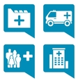 medical blue icon set vector image