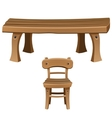 Set of wooden furniture Chair and table vector image