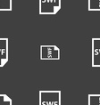 SWF File icon sign Seamless pattern on a gray vector image