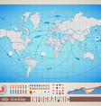 World map with ship tracking vector