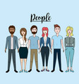cute people with hairstyle and different wears vector image
