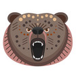 roaring bear head logo decorative emblem vector image