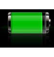 Glossy transparent battery icon green vector image