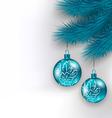 Hanging Christmas glass balls on fir twigs vector image