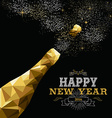 Happy new year 2016 champagne bottle low poly gold vector image