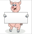 pig with blank sign vector image vector image