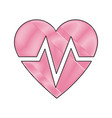 drawing heart beat health care medical vector image