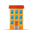 Flat colourful icon of retro house with red roof vector image
