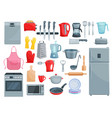 kitchen appliances and dishware icons set vector image